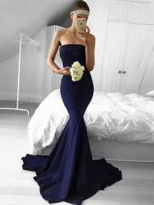 Unique Mermaid Strapless Open Back Navy Blue Elastic Satin Long Prom Dresses with Train,2019 Formal Party Dresses