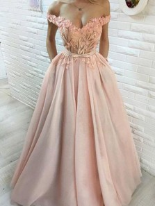 Romantic A-Line Off the Shoulder Open Back Pink Satin Long Prom Dresses with Appliques
