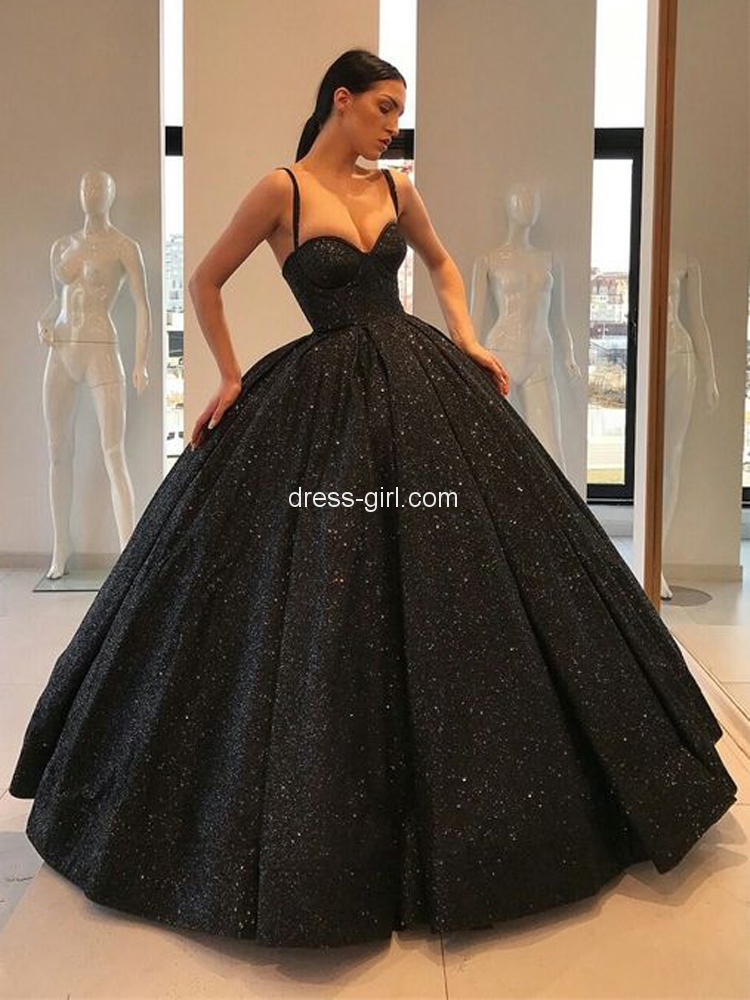 Ball Gown Sweetheart Open Back Black Sequins