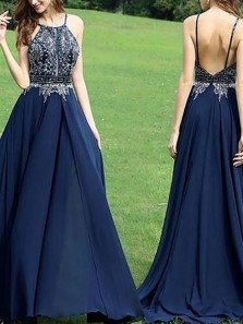 Charming A-Line Halter Open Back Navy Blue Chiffon Long Prom Dresses with Beading,Elegant Formal Prom Dresses