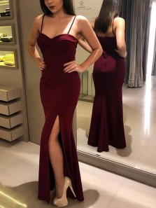 Modest Mermaid Spaghetti Straps Open Back Burgundy Satin Long Prom Dresses with Slit,Evening Party Dresses