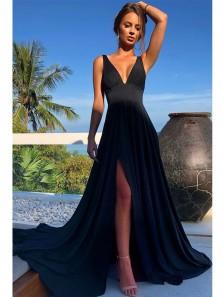 Elegant A-Line Deep V Neck Black Elastic Satin Long Prom Dresses with Side Split,Evening Party Dresses DG0918008