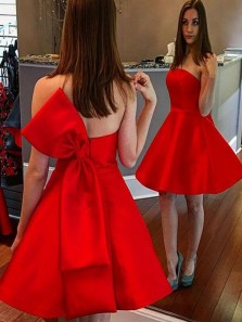 Chic A-Line Strapless Red Satin Short Homecoming Dresses with Big Bow,Short Prom Evening Party Dresses