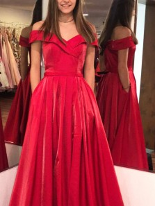 Elegant A-Line Off the Shoulder Open Back Red Satin Long Prom Dresses,Vintage Evening Party Gown