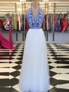 Unique A-Line Halter V Neck Open Back Blue Floral Print White Tulle Long Prom Dresses