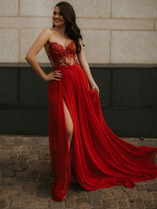 Luxurious A-Line Sweetheart Open Back Red Chiffon Long Prom Dresses with Beading,Charming Formal Dresses
