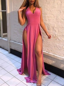 Sexy A-Line Halter V Neck Open Back Rose Red Satin Long Prom Dresses with Slits,Evening Party Dresses
