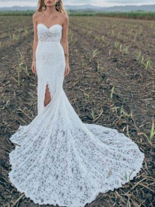 Exquisite Mermaid Sweetheart Open Back White Lace Wedding Dresses with Split