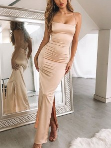 Simple Bodycon Spaghetti Straps Cross Back Light Champagne Elastic Satin Long Prom Dresses,Formal Party Dresses