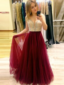 Gorgeous A-Line V Neck Open Back Burgundy Chiffon Long Prom Dresses with Beading,Formal Party Dresses