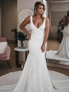 Charming Mermaid V Neck Open Back White Satin Long Wedding Dresses
