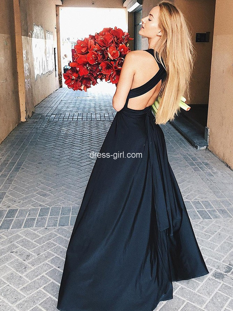 8e79a64cce4 Elegant A-Line Deep V Neck Backless Black Satin Long Prom Dresses with Side  Split