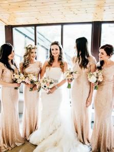 Elegant Mermaid Round Neck Open Back Rose Gold Sequined Bridesmaid Dresses with Beading