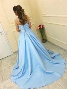Princess Sweetheart Open Back Blue Satin Long Prom Dresses with Appliques,Charming Quinceanera Dresses