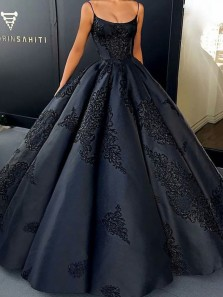 Luxurious Spaghetti Straps Scoop Neck Open Back Navy Blue Satin Long Prom Dresses with Appliques,Quinceanera Dresses