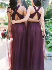 Elegant A-Line Halter Cross Back Burgundy Tulle Long Bridesmaid Dresses