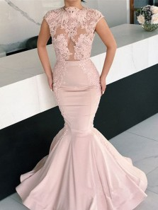 Unique Mermaid Round Neck Open Back Light Pink Satin Long Prom Dresses with Lace,Formal party Dresses