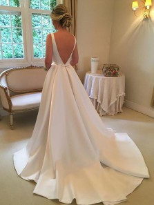 Simple A-Line Scoop Neck Backless White Satin Long Wedding Dresses with Pockets