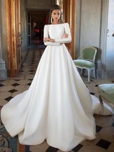 Vintage A-Line Bateau Open Back White Satin Wedding Dresses