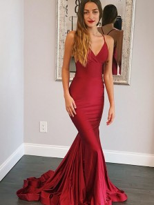 Mermaid V Neck Spaghetti Straps Cross Back Burgundy Long Prom Dresses with Train,Formal Evening Party Dresses