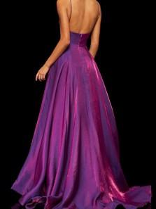 Elegant A-Line V Neck Open Back Violet Satin Long Prom Dresses with Pockets,Formal Party Dresses