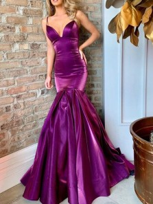Charming Mermaid  Plunging Neckline Spaghetti Straps Open Back Purple Satin Prom Dresses,Beautiful Evening Prom Dresses