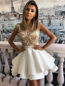 Princess A-Line Round Neck Cap Sleeves White Tier Short Homecoming Dress with Appliques