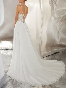 Stunning A-Line Sweetheart Spaghetti Straps Chiffon Beach Wedding Dresses with Lace Appliques,Side Split Bridal Gown