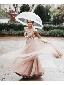 Elegant A-line V Neck Sequins Tulle Long Bridesmaid Dress with Open Back