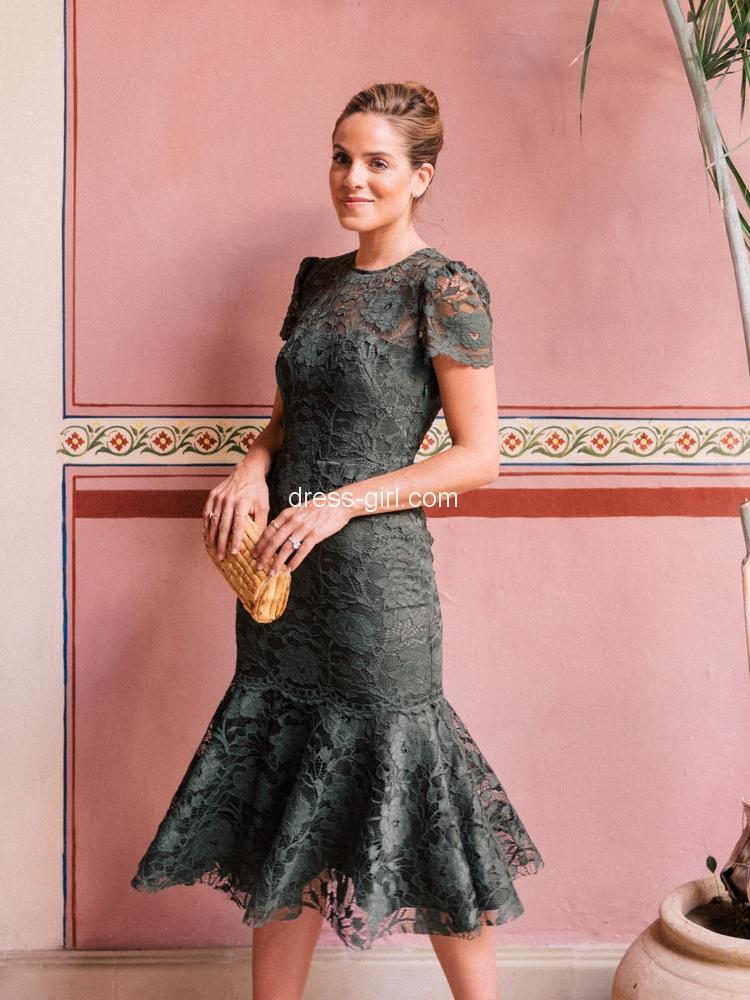 Elegant Mermaid Round Neck Olive Green Lace Below Length Prom