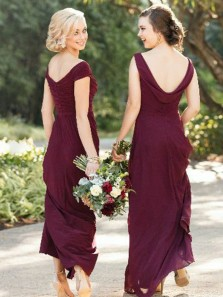 Elegant A-Line V Neck Open Back Burgundy Chiffon Long Bridesmaid Dresses Under 100