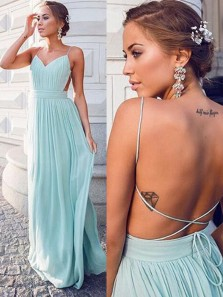 Simple A-Line V Neck Cross Back Mint Chiffon Long Prom Dresses,Chic Evening Party Dresses Under 100