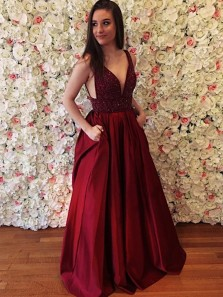 Modest A-Line V Neck Open Back Burgundy Satin Long Prom Dresses with Beading,Charming Evening Party Gown
