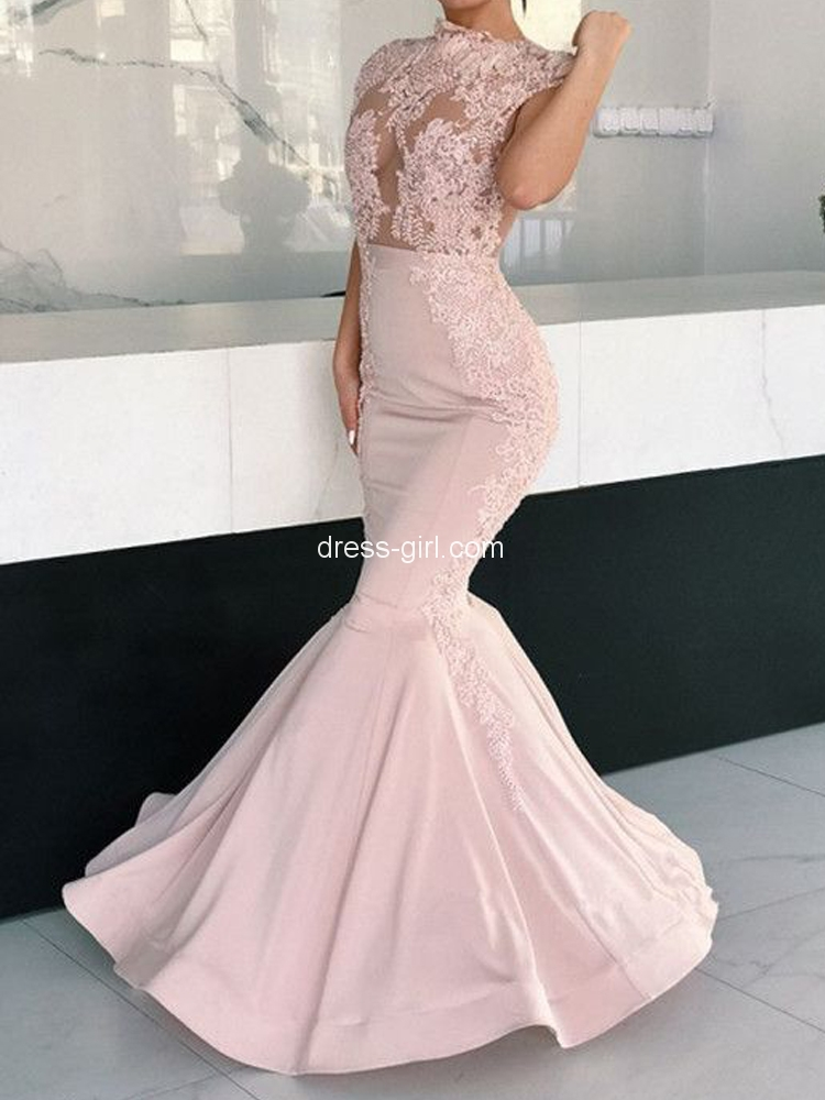 5af3bc9958 Unique Mermaid Round Neck Open Back Light Pink Satin Long Prom Dresses with  Lace