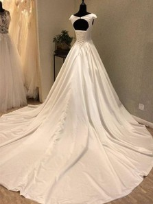 Vintage A-Line Cap Sleeve Open Back White Satin Wedding Dresses