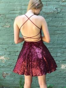 Cute A-Line Scoop Neck Cross Back Burgundy Sequins Short Homecoming Dresses,Short Prom Dresses