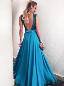 Charming A-Line Deep V Neck Backless Peacock blue Chiffon Long Prom Dresses with Beading,Formal Party Dresses