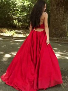Charming Halter Open Back Red Satin Long Prom Dresses with Pockets,Formal Evening Party Dresses