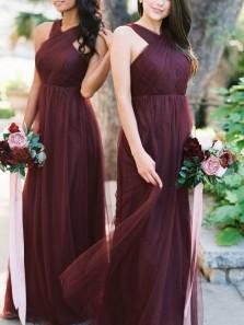 Elegant A-Line Halter Cross Back Burgundy Tulle Long Bridesmaid Dresses