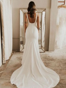 Chic Mermaid Square Neck Open Back White Satin Long Wedding Dresses,Bridal Gown