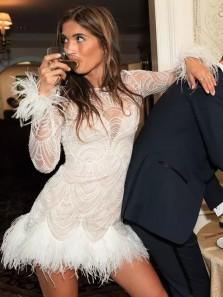 Chic Bodycon Boat Neck Long Sleeve Mini Wedding Dresses