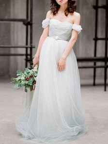 Romantic A-Line Off the Shoulder Backless Light Blue Tulle Wedding Dresses