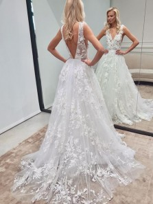 A-Line V Neck Deep V Back White Lace Beach Wedding Dresses with Train