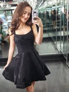 Cute A-Line Straps Little Black Dresses Short Homecoming Dresses,Short Prom Party Dresses DG0916007