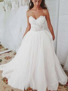 Gorgeous A-Line Sweetheart Open Back White Wedding Dresses,Lace Bridal Gown