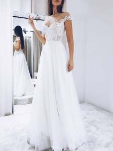 Modest A-Line Round Neck Cap Sleeve White Tulle Wedding Dresses with Lace