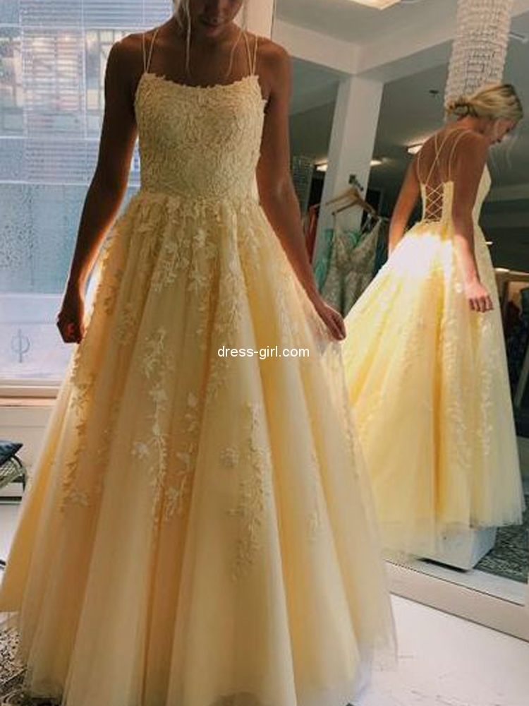 Elegant A Line Scoop Neck Cross Back Yellow Tulle Long Prom Dresses With Laceformal Party Dresses