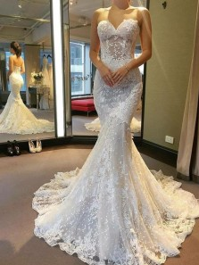 Gorgeous Mermaid Sweetheart Open Back Ivory Lace Wedding Dresses with Train,New Bridal Gown