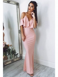Chic Sheath Spaghetti Straps V Neck Pink Satin Long Prom Dresses with Ruffle,Charming Evening Party Dresses DG0917009