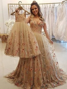 Unique Ball Gown V Neck Champagne Kids Adult Tulle Long Dresses,Prom Party Dresses,Birthday Party Dresses